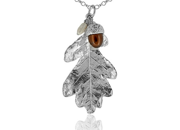 Large Sterling Silver Oakleaf and Acorn Pendant