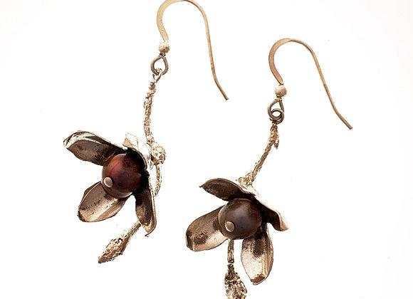 Four Petal Flower earrings with pink pearls