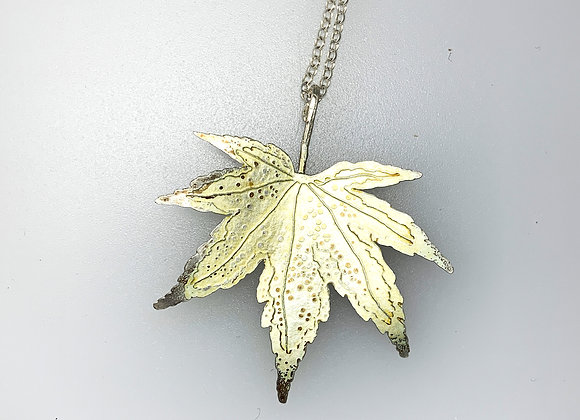 Silver & enamel Spring Maple leaf pendant