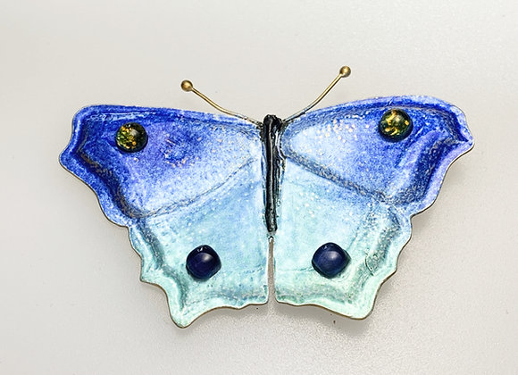 Large Silver and Enamel blue Butterfly brooch