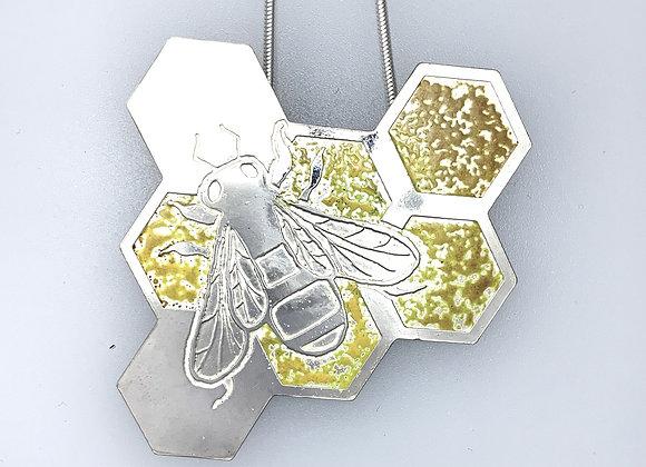 Bee on honeycomb (with yellow) enamel pendant
