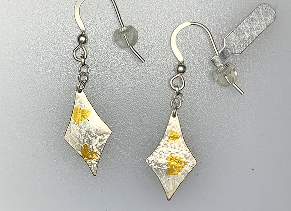 Grass snake silver and gold earrings