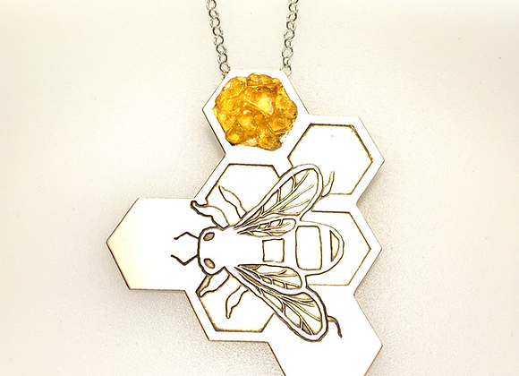 Bee on honeycomb 2 (with yellow) enamel and Citrine silver pendant