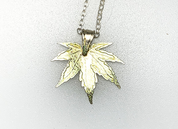 Small silver & enamel Spring Maple leaf pendant