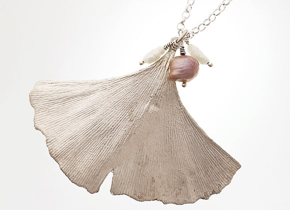 Large Ginkgo leaf pendant with white & pink pearls