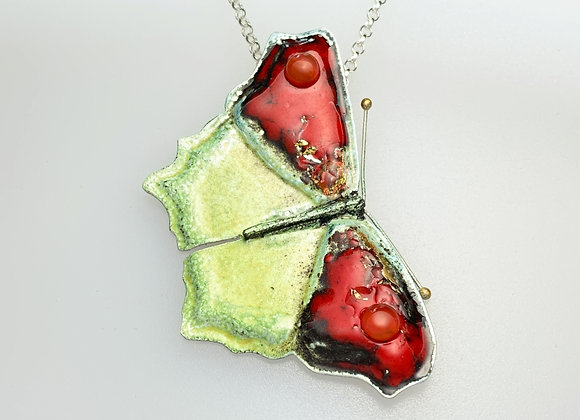 Large Silver and Enamel Red 'Madam Butterfly' pendant