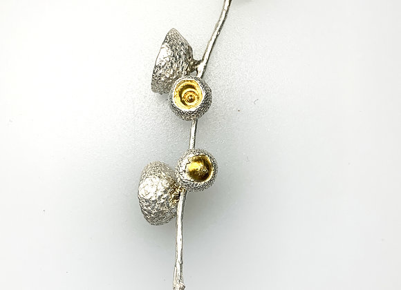 Silver and gold four acorn pendant