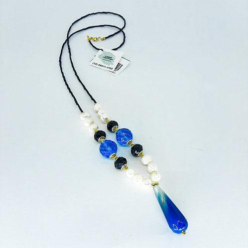 Colar ping azul pérola cristal preto azul canutilho