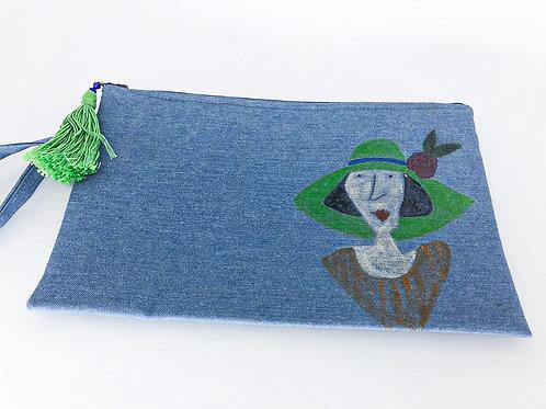 Bolsa de pulso pintura em aquarela - senhora