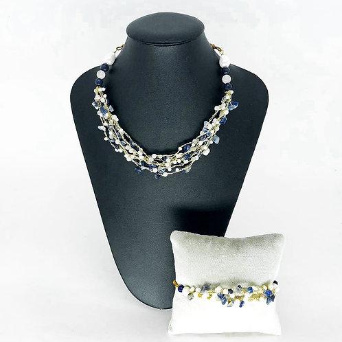 Conjunto Colar e pulseira de crochê e pedras