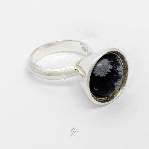 Anel Cone Obsidiana Flocos