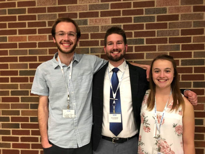 With Conner Viets and Hannah Gallamore of the CHannel2 Percussion duo after their premiere performance of Pluviality at the 2019 Society of Composers Inc. conference in Commerce, Texas.