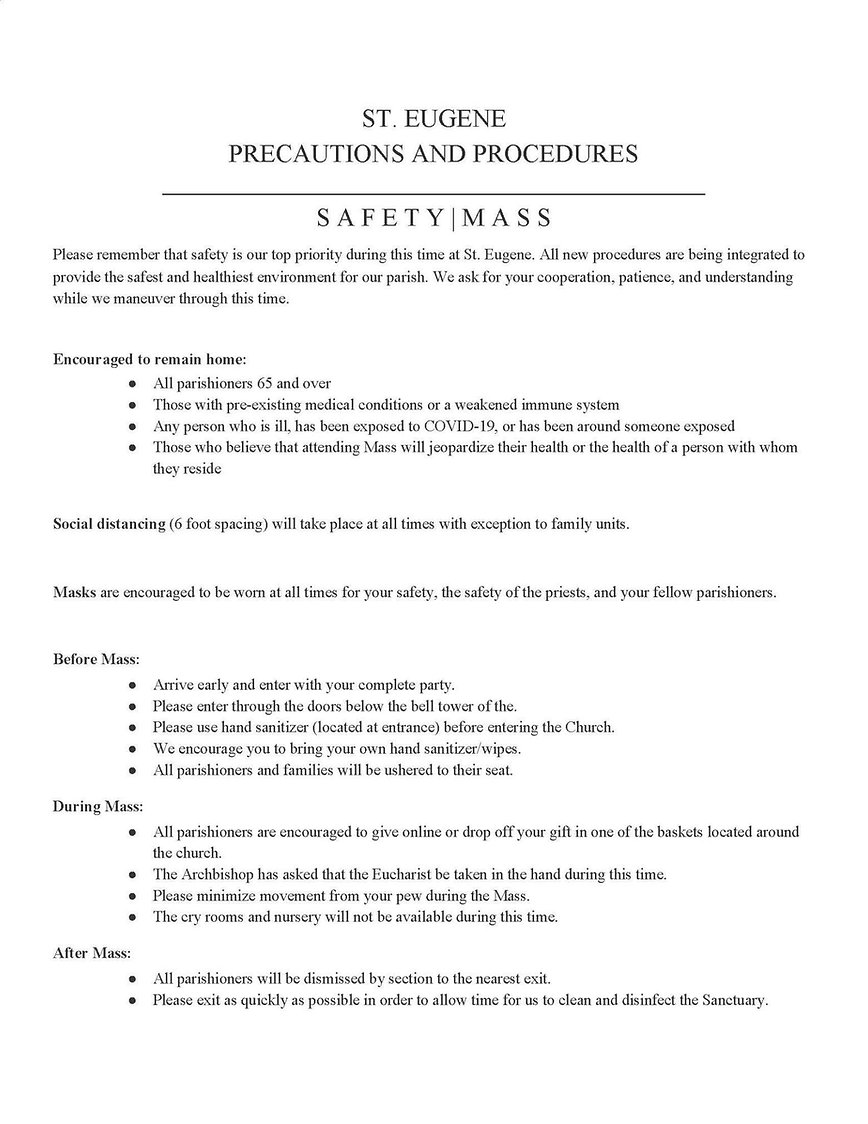 St Eugene Church Precautions and Procedu
