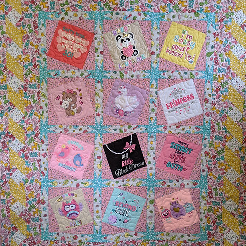 Baby T-Shirt Quilt Fabric Kit - Pink with Pattern