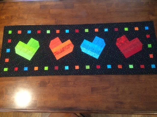 Glenda Allred's Tipsy Heart table runner