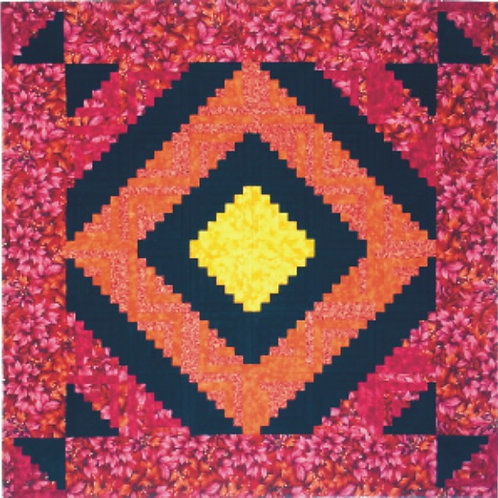 "Log Cabin Quilt Pattern 48"" x 48"""