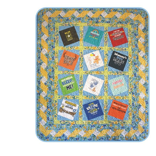 Split Rail Baby Quilt Fabric Kit Blue with Pattern