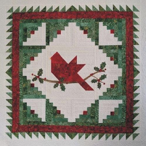 "Christmas Cardinal Wallhanging Pattern 36"" x 36"""