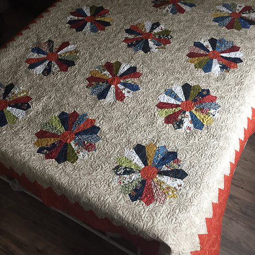 Dresden Plate bed quilt pattern & fabric kit