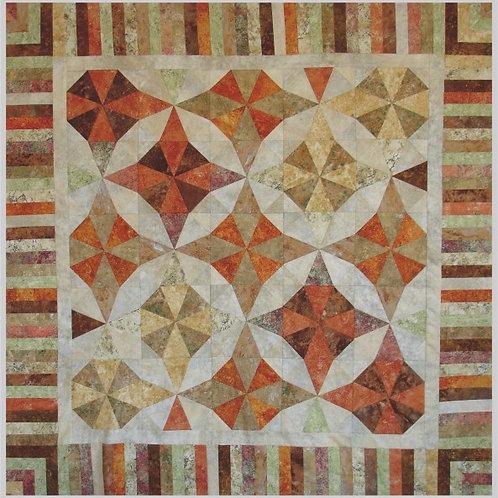 """Kaleidescope Quilt 42"""" x 42"""" Paper Pieced Pattern"""