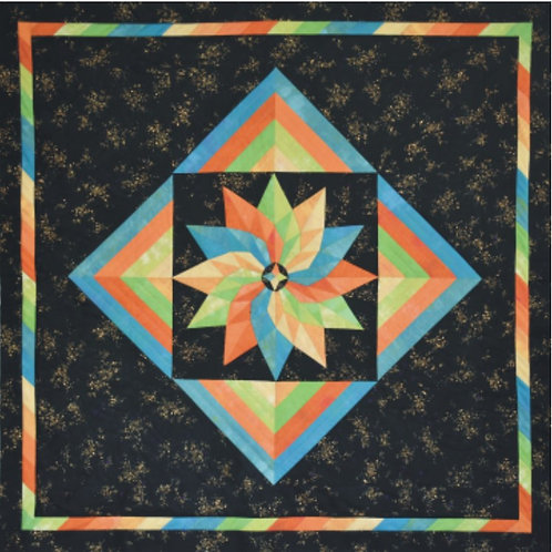 Dahlia Magic Fabric Kit w/pattern - Black & Gold