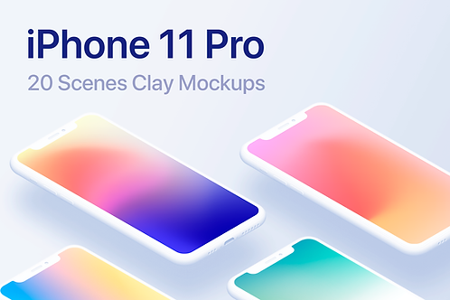 iPhone 11 Pro - 20 Clay Mockups Scenes