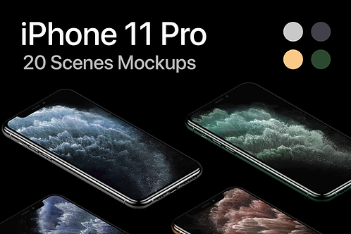iPhone 11 Pro - 20 Mockups Scenes