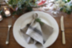 Event + wedding hire - linen and servingware, , napkins, plate, glassware, styled, foliage