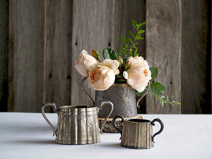 Event + wedding hire - vase, vintage, rustic, flowers, roses, metal, table top