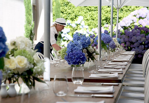 Styling tables for garden luncheon event
