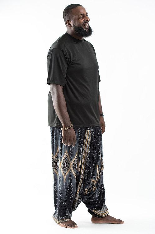 Unisex Plus Size Harem Pants Black