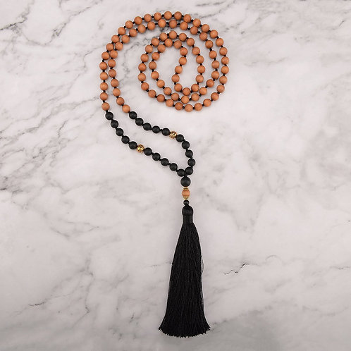 108 Mala Beads Black Agate and Sandalwood