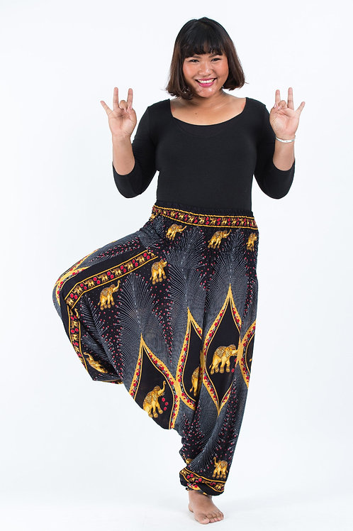 Unisex Plus Size Harem Pants Black/Gold