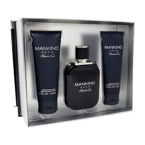 SET KENNETH COLE MANKIND HERO 3PZS 100ML EDT SPRAY/ AFTER SHAVE 100ML/ SHOWER GE