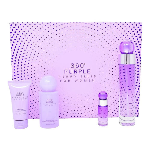 SET 360° PURPLE 4PZS 100ML EDP SPRAY/ CREMA PARA LAS MANOS 57G/ BODY MIST 118ML