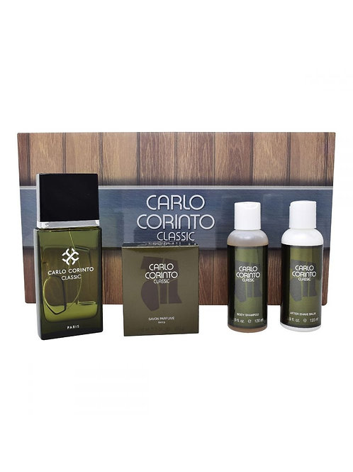 SET CARLO CORINTO 4PZS 100ML EDT SPRAY/ SHOWER GEL 120ML/ AFTER SHAVE 120ML / JA