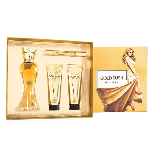 SET GOLD RUSH 4 PZS 100ML EDP SPRAY/ ROLLERBALL EDP 6ML/ BODY LOTION 90ML/ SHOWE