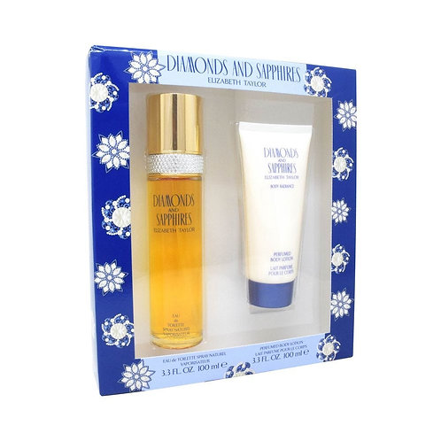 SET DIAMONDS AND SAPPHIRES 2PZS 100ML EDT SPRAY/ BODY LOTION 100ML