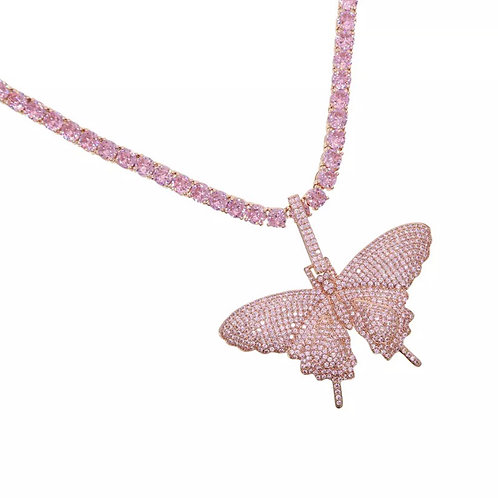 Ice Pink Butterfly Tennis Necklace