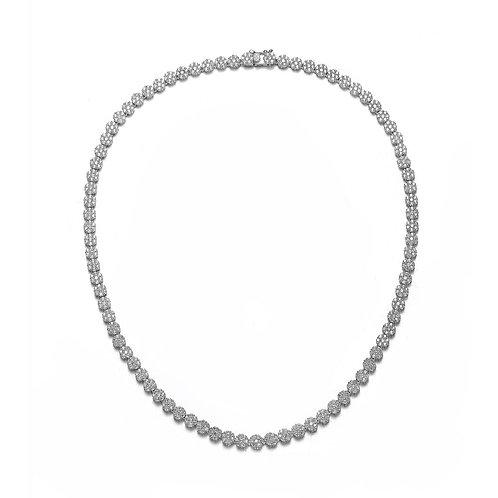Elegant Tennis Necklace (Flower)