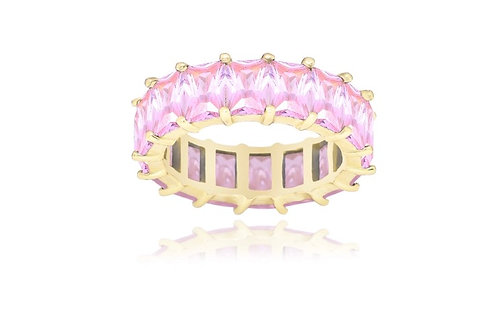 Pink Emerald Cut Eternity Band