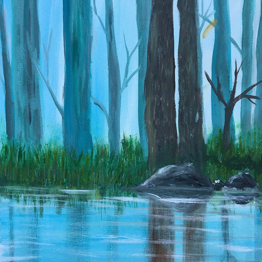 Facebook live -  Acrylic Painting Class Creekside Reflection