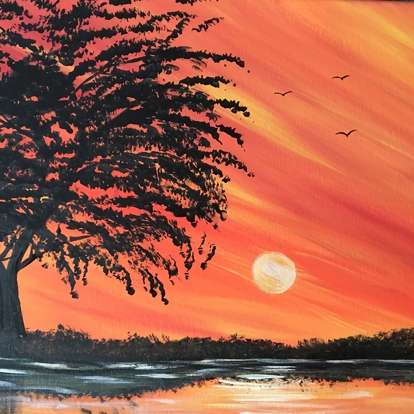 Watch anytime not just as listed -REPLAY of LIVE Sunset Reflection Painting Class