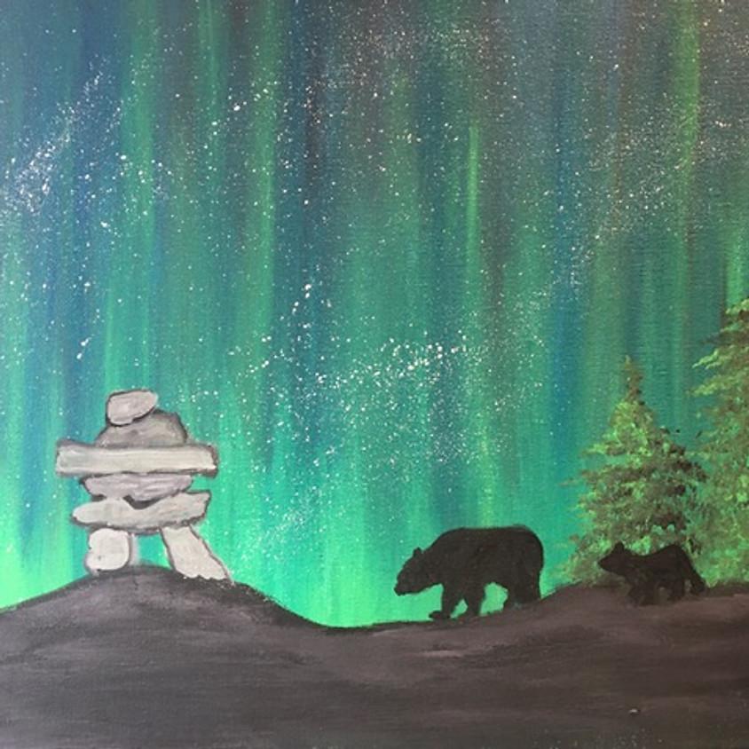 Inukshuk -Northern Lights - Momma & Baby Bear