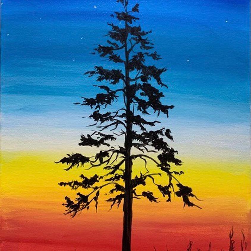 Lone Tree at Sunset  - CREO ART STUDIO White Rock