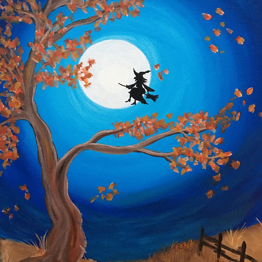 """""""Witch"""" or """"Fall"""" Acrylic Painting Class - Live on Facebook"""