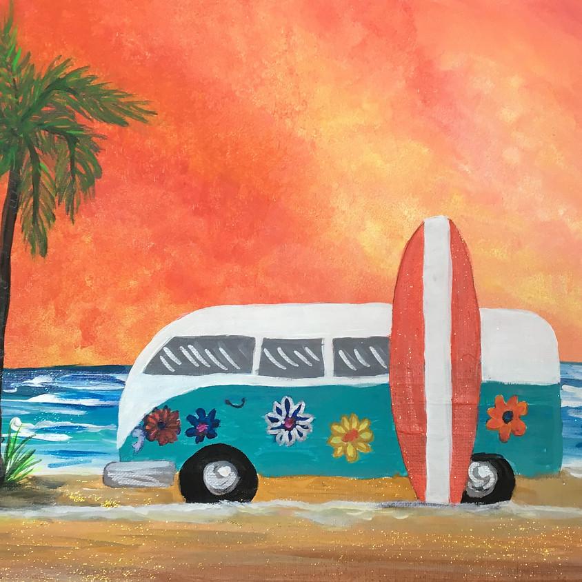 Retro Van & Surfboard- Ravens Brewing