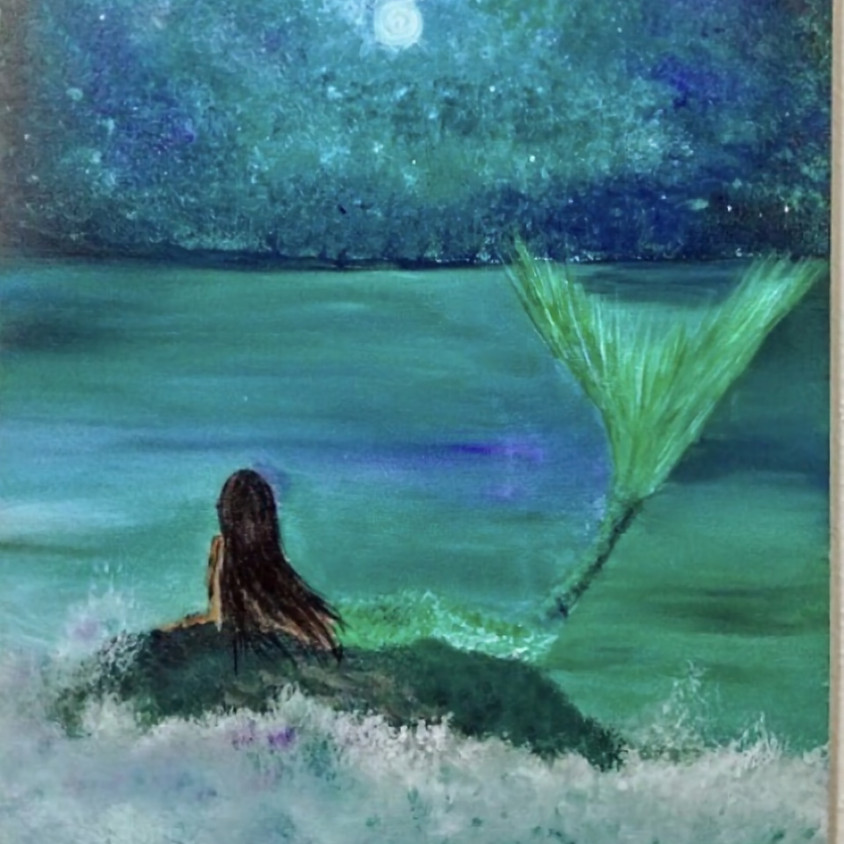 Watch anytime - Pre recorded Live Mermaid Painting Class