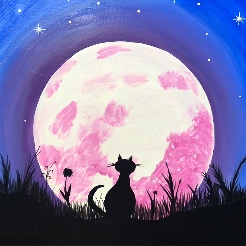 Stationhouse Pub - Moonstruck - Cat or Dog ( or both) - Tap painting to enlarge
