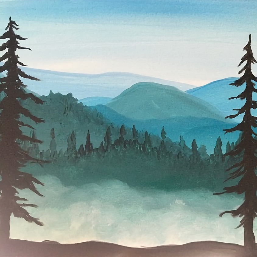 3 Dogs Paint Night - Misty Forest